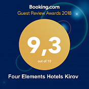 2018 Booking.com: Guest Review Award, average score 9,3